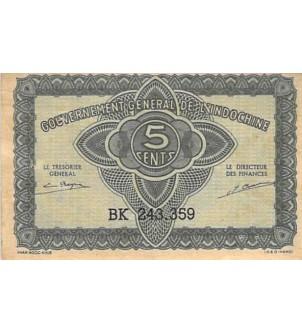 INDOCHINE - 5 CENTS 1942 - TTB